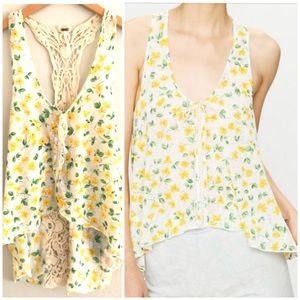 Free People | Izzy Crochet Back Yellow Floral Tank